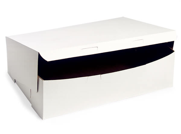 """14x10x4"""" White Bakery Boxes 5 Pk 1-piece Lock Corner Box"""