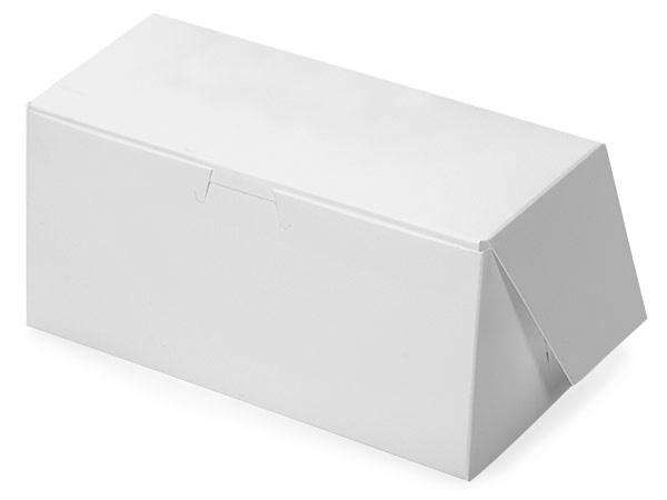 """8x4x4"""" White Bakery Boxes 10 Pk 1-piece Lock Corner Box"""