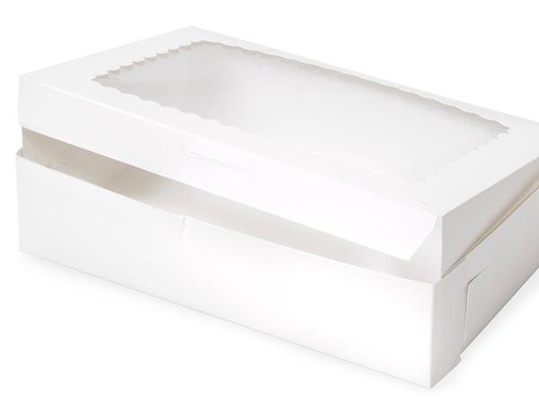 "10x7x2-1/2"" White Window Bakery Box 10 Pk 1-piece Lock Corner Box"