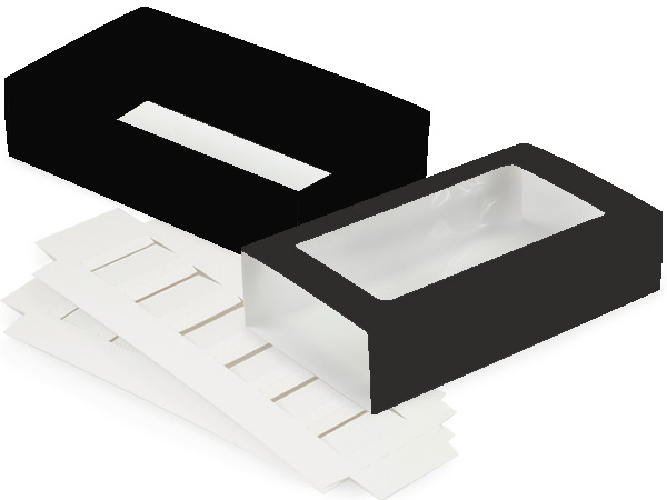 "Black Macaron Cookie Box Set, 8.25x5x2"", 10 Pack"