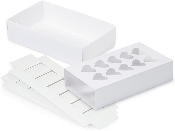 "White Heart Macaron Cookie Box Set, 8.25x5x2"", 10 Pack"