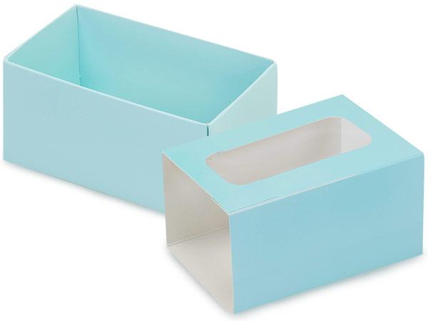 "Aqua Macaron Cookie Box Set, 3.75x2.5x2"", 10 Pack"