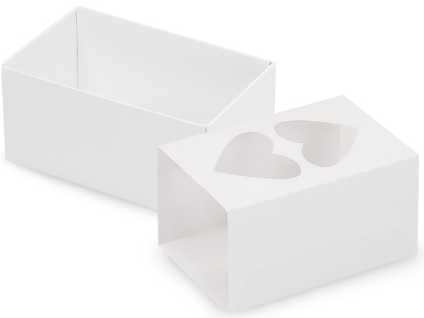 "White Heart Macaron Cookie Box Set, 3.75x2.5x2"", 10 Pack"
