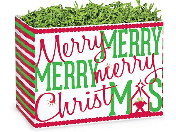 "*Large Merry Christmas Manger Basket Boxes 10-1/4x6x7-1/2"""