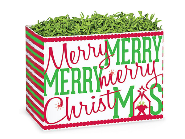 """Small Merry Christmas Manger Basket Boxes 6-3/4x4x5"""""""