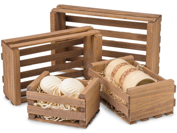 Medium Wooden Crate Assortment, Early American Finish, 4 Sizes