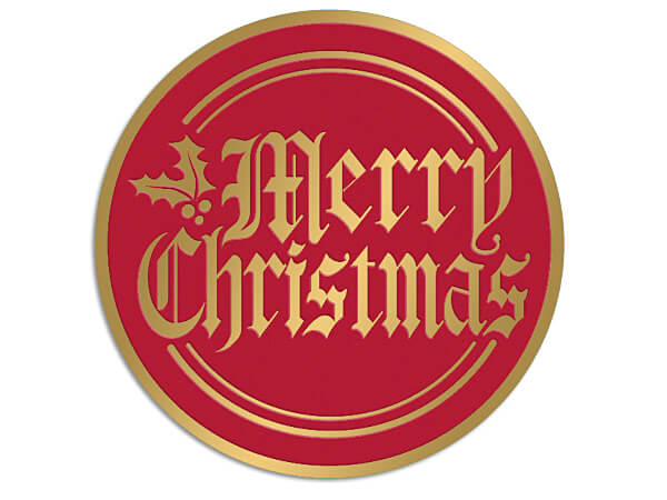 """Merry Christmas Gold & Red Foil Seals, 2"""" Round, 250 Pack"""
