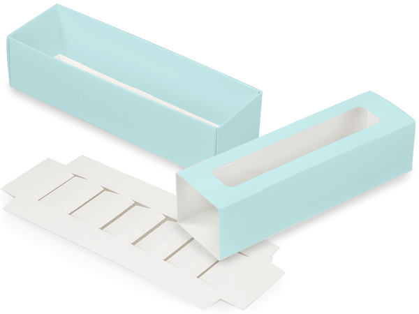 "Aqua Macaron Cookie Box Set, 8.25x2.5x2"", 10 Pack"
