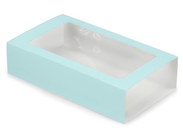 "Aqua Macaron and Cookie Sleeve with Window, 8.25x5x2"", 100 Pack"