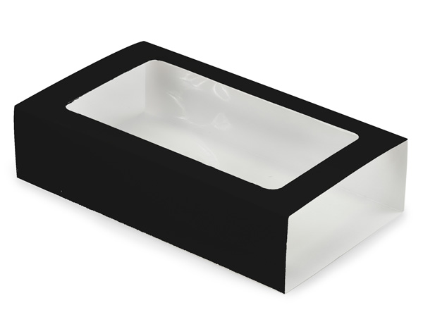 """Black Macaron and Cookie Sleeve with Window, 8.25x5x2"""", 100 Pack"""