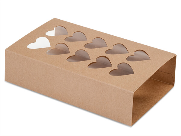 "Kraft Macaron & Cookie Sleeve with Heart Window, 8.25x5x2"", 100 Pack"