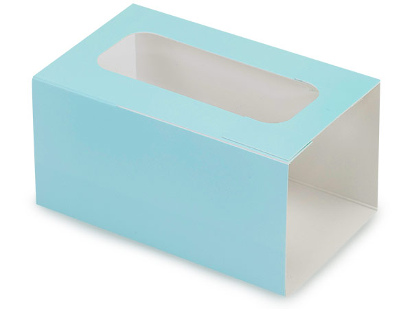 "Aqua Macaron and Cookie Sleeve with Window, 3.75x2.5x2"", 50 Pack"