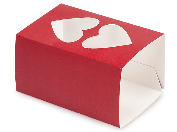 "Red Macaron and Cookie Sleeve with Heart Window, 3.75x2.5x2"", 50 Pack"