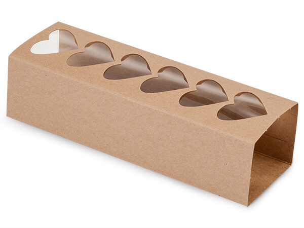 "Kraft Macaron & Cookie Sleeve with Heart Window, 8.25x2.5x2"", 100 Pack"