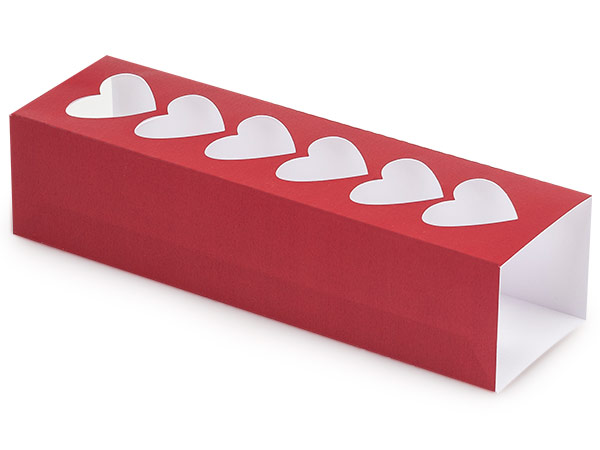 "Red Macaron and Cookie Sleeve with Heart Window, 8.25x2.5x2"", 100 Pack"
