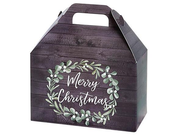 "Merry Christmas Wreath Gable Box, 8.5x5x5.5"", 6 Pack"
