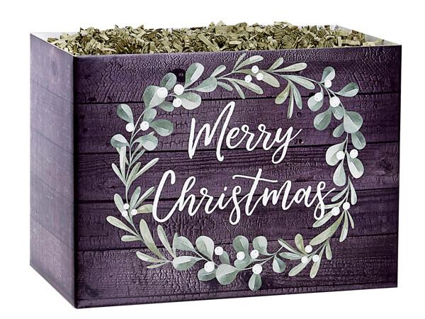 "Merry Christmas Wreath Basket Box, Large 10.25x6x7.5"", 6 Pack"