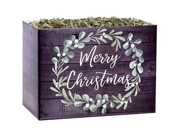 """Merry Christmas Wreath Basket Boxes Small, 6.75x4x5"""", 6 Pack"""