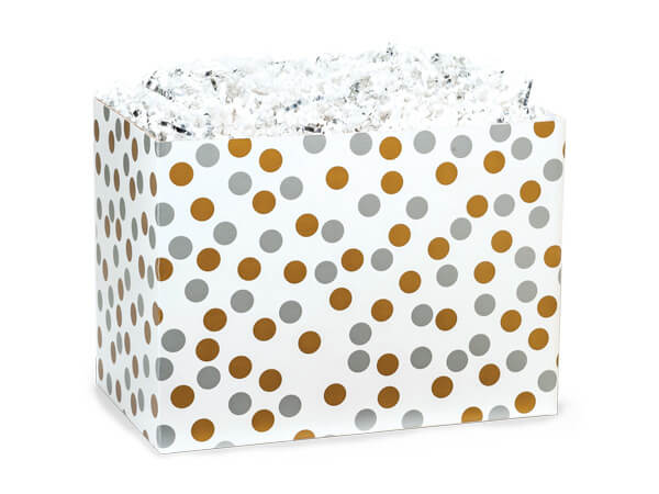 *Small Metallic Dots Basket Boxes 6-3/4 x 4 x 5""