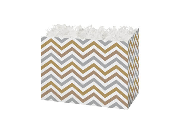 Small Metallic Chevron Basket Boxes 6-3/4 x 4 x 5""