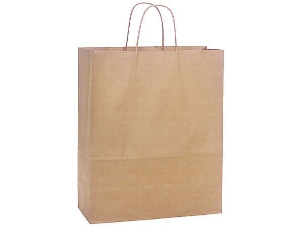 Medium Natural Kraft Shopping Bags 250 Pk 13x6x15-1/2""