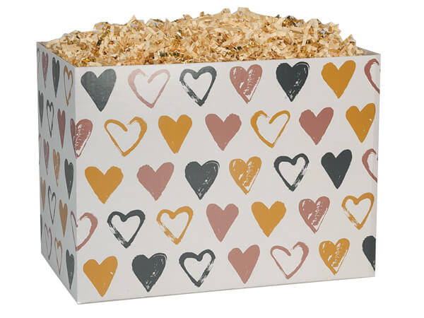 "*Metallic Hearts Basket Boxes, Large 10.25x6x7.5"", 6 Pack"