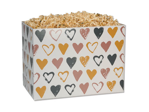 "*Metallic Hearts Basket Boxes, Small 6.75x4x5"", 6 Pack"