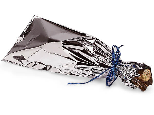 "Metallic Silver Wine Bags, 6.5x18"", 100 Pack"
