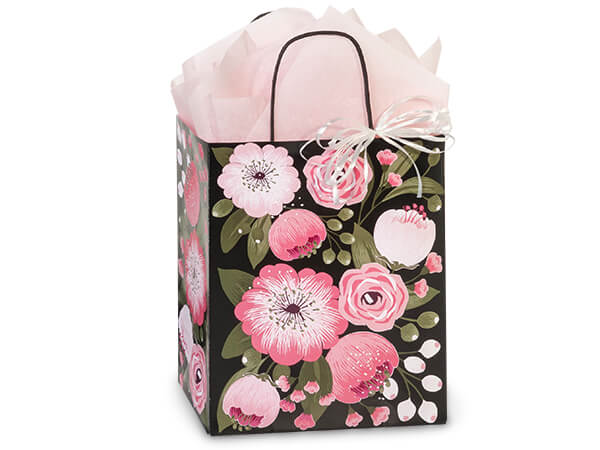 "Moonlit Blooms Paper Shopping Bags Cub, 8x4.75x10.25"", 25 Pack"