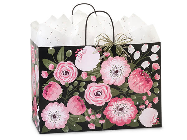 """Moonlit Blooms Paper Shopping Bags Vogue, 16x6x12"""", 25 Pack"""