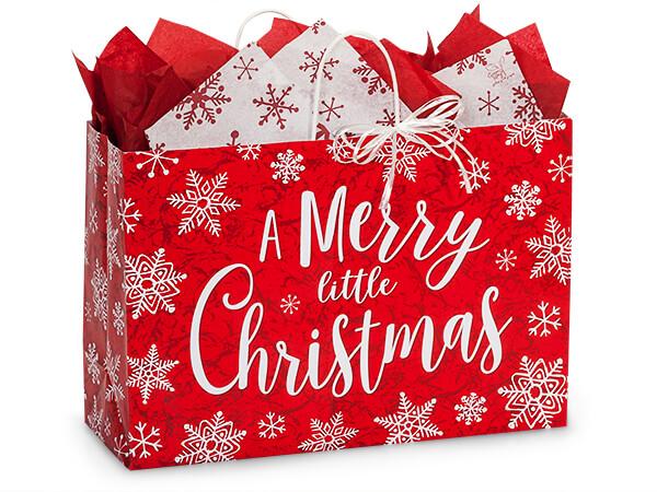 "Merry Little Christmas Paper Bag Vogue, 16x6x12"", 250 Pack"