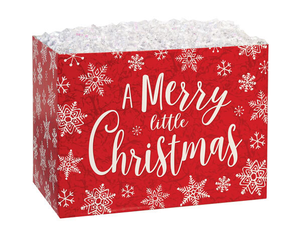 "Merry Little Christmas Basket Boxes, Large 10.25x6x7.5"", 6 Pack"