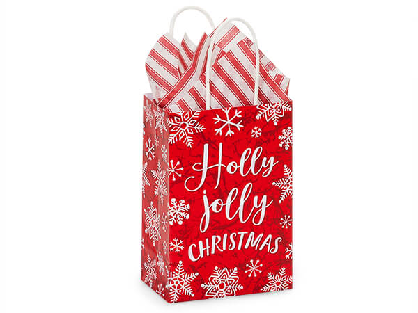 """Merry Little Christmas Paper Bag Rose, 5.5x3.25x8.5"""", 25 Pack"""