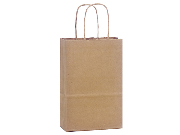 Rose Natural Kraft Shopping Bags 25 Pk 5-1/4x3-1/2x8-1/4""