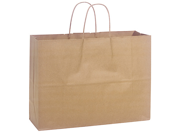 "Natural Brown Kraft Shopping Bags Vogue 16x6x12.5"", 25 Pack"