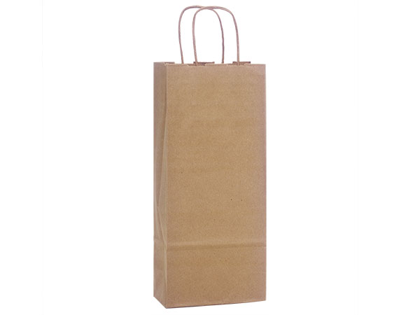 Wine Natural Kraft Shopping Bags 25 Pk 5-1/2x3-1/4x13""