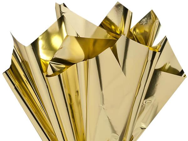 "Metallic Gold Cellophane Sheets, 18x30"", 300 Pack"