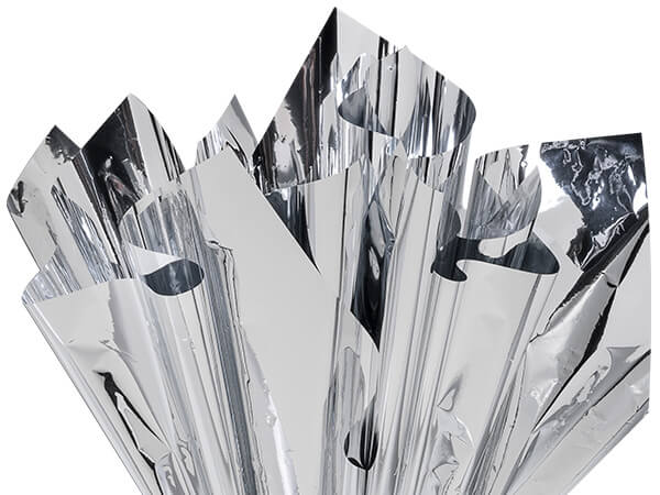 "Metallic Silver Cellophane Sheets, 18x30"", 300 Pack"