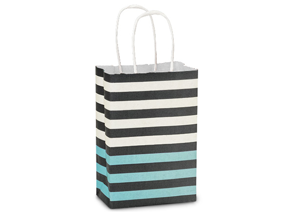 Rose Melody Stripe White Kraft Paper Bags 250 5-1/2x3-1/4x8-3/8""