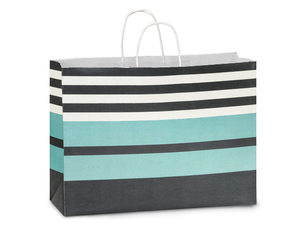 Vogue Melody Stripe White Kraft Paper Bags 250 16x6x12""