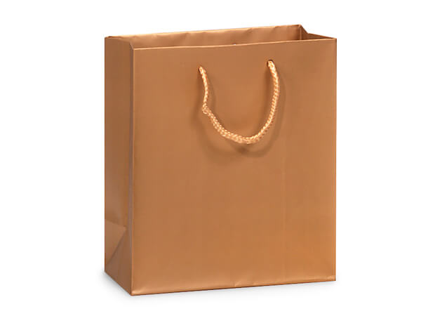 "Metallic Gold Matte Gift Bags, Cub 8x4x10"", 100 Pack"