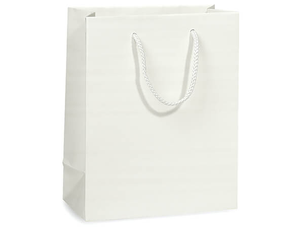 "White Matte Gift Bags, Cub 8x4x10"", 100 Pack"