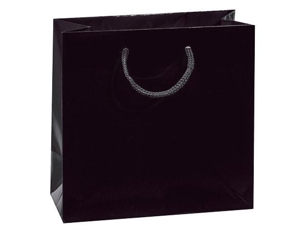 """Black Matte Gift Bags, Cub 8x4x10"""", 10 Pack"""