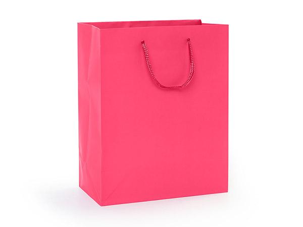 "Hot Pink Matte Gift Bags, Cub 8x4x10"", 10 Pack"
