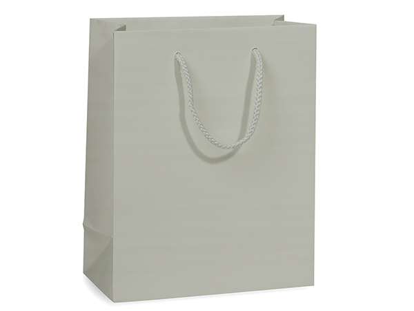 "Silver Matte Gift Bags, Cub 8x4x10"", 10 Pack"