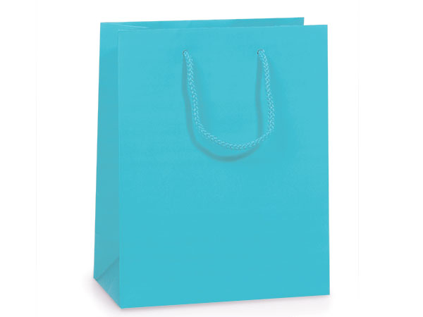 """Turquoise Matte Gift Bags, Cub 8x4x10"""", 10 Pack"""