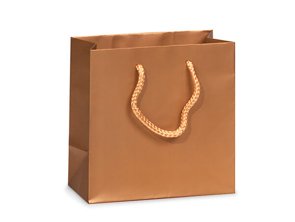 "Metallic Gold Matte Gift Bags, Jewel 6.5x3.5x6.5"", 100 Pack"