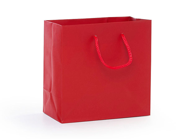 """Red Matte Gift Bags, Jewel 6.5x3.5x6.5"""", 100 Pack"""