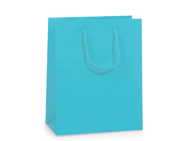"""Turquoise Matte Gift Bags, Jewel 6.5x3.5x6.5"""", 100 Pack"""