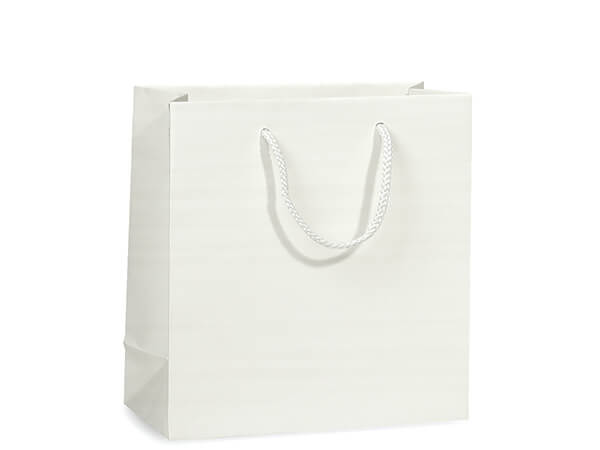 """White Matte Gift Bags, Jewel 6.5x3.5x6.5"""", 100 Pack"""